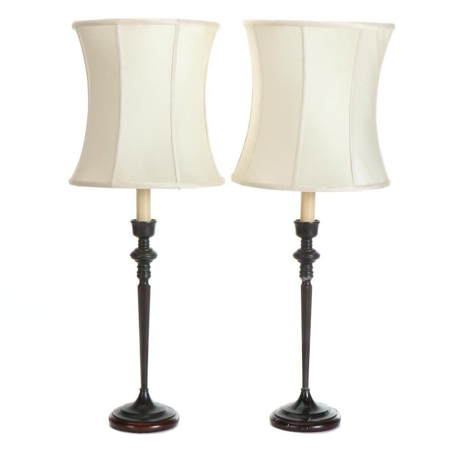 Wildwood Patinated Metal Candlestick Lamps