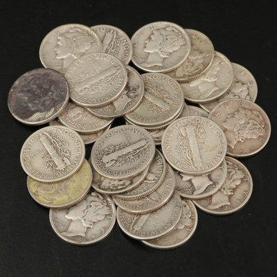 Twenty-Eight Mercury Silver Dimes