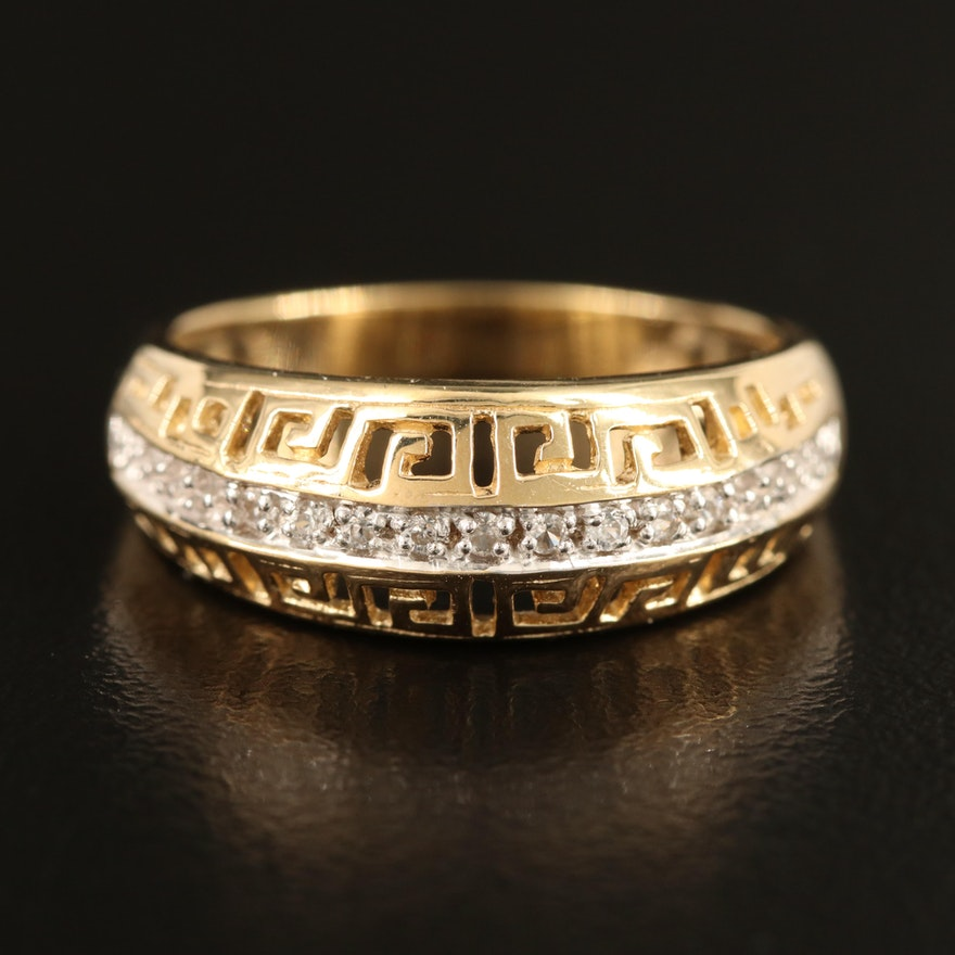 Greek Key and Zircon Ring in Sterling Silver