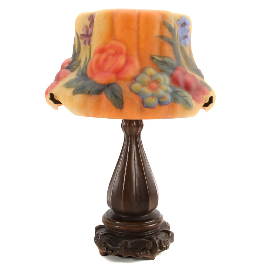 Art Nouveau Style Table Lamp with Reverse Painted Glass Shade
