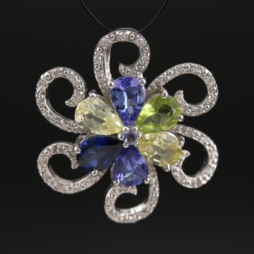 Sterling Sapphire, Tanzanite and Diamond Floral Pendant