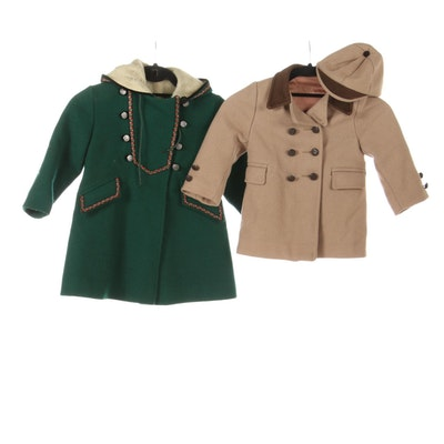 Girls' Rothschild Green Wool Coat and Boys' Double-Breasted Peacoat and Cap