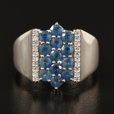 Sterling Sapphire Cluster Ring with Zircon Accents