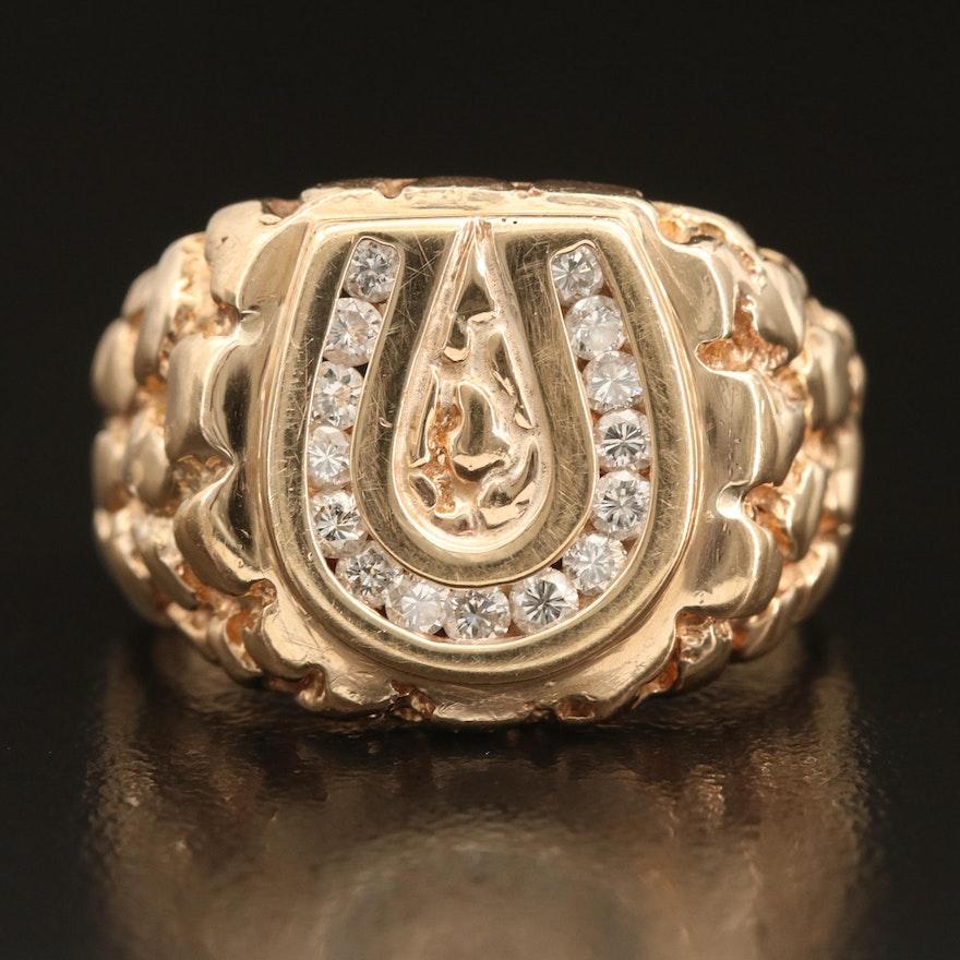 14K 0.45 CTW Diamond Horseshoe Ring with Nugget Detail