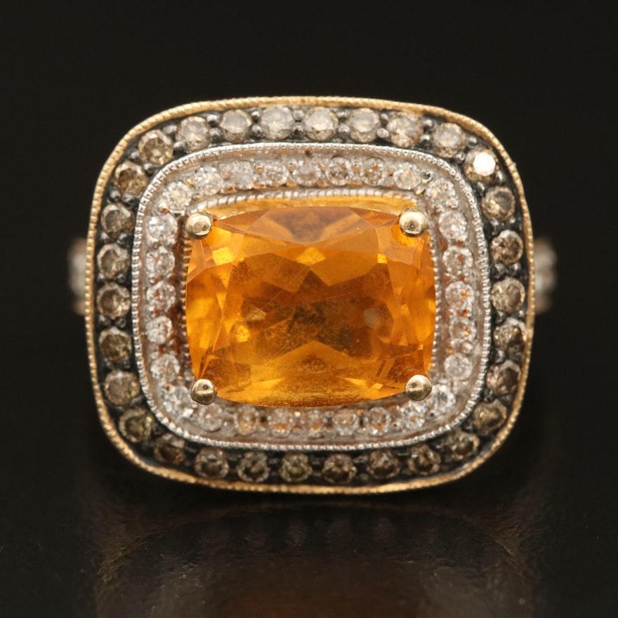 Le Vian 14K Citrine and 1.00 CTW Diamond Double Halo Ring