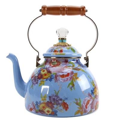 """Mackenzie-Childs Lapis """"Flower Market"""" Three-Quart Enamelware Tea Kettle"""