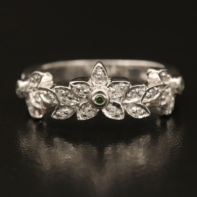 Sterling Diamond and Zircon Floral Band
