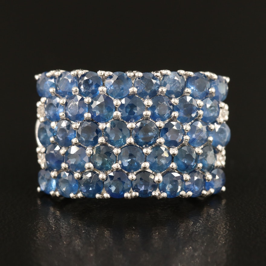 Sapphire and Topaz Multi-Row Ring in Sterling Silver