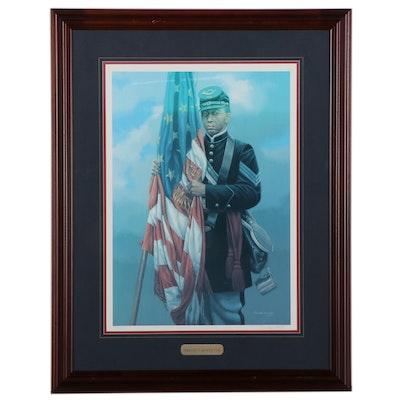 "Michael Gnatek Offset Lithograph ""Sergeant Carney's Flag,"" Circa 1997"