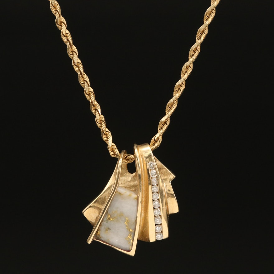 14K Native Gold and 0.31 CTW Diamond Pendant Necklace