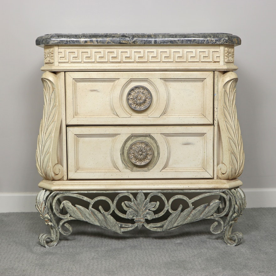 "Pulaski Furniture ""Fossil Top"" Metal-Mounted Two-Drawer Nightstand"