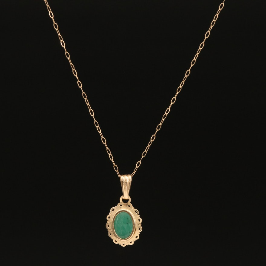 14K Emerald Scalloped Pendant Necklace