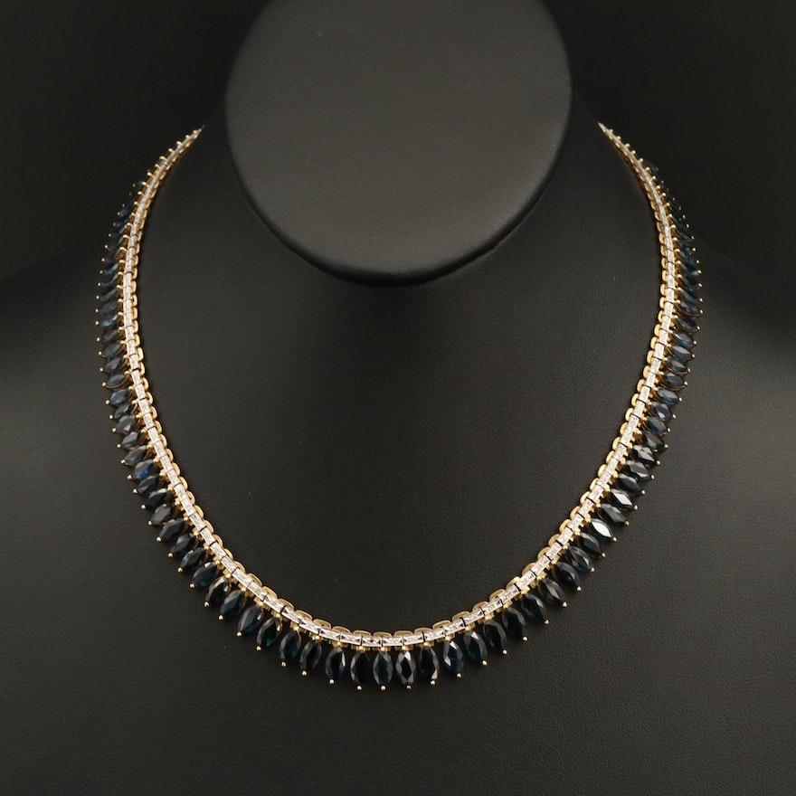 18K Sapphire and 0.62 CTW Diamond Graduated Necklace