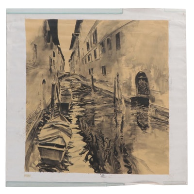 """Large-Scale Acrylic Painting """"Impressions of a Canal"""""""