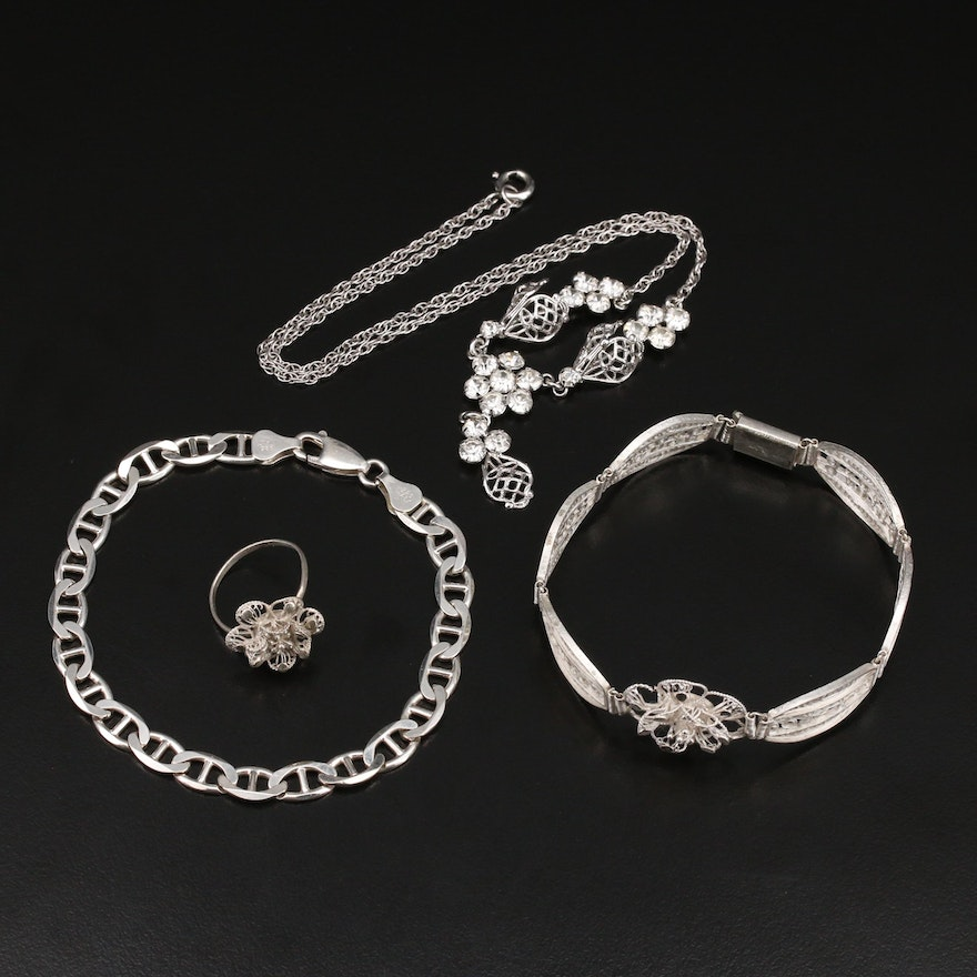 Sterling Rhinestone Jewelry with Filigree Bracelet and Ring