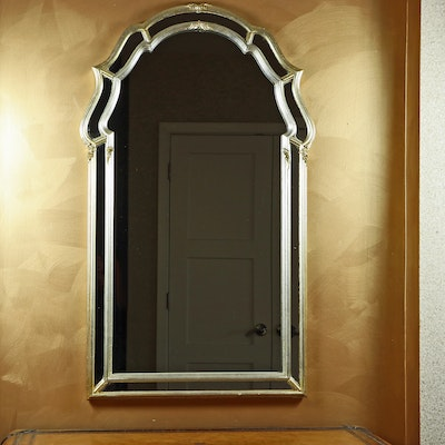 Arched Silvered Wood Mirror Framed Wall Mirror