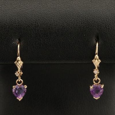 14K Amethyst and 0.02 CTW Diamond Drop Heart Earrings