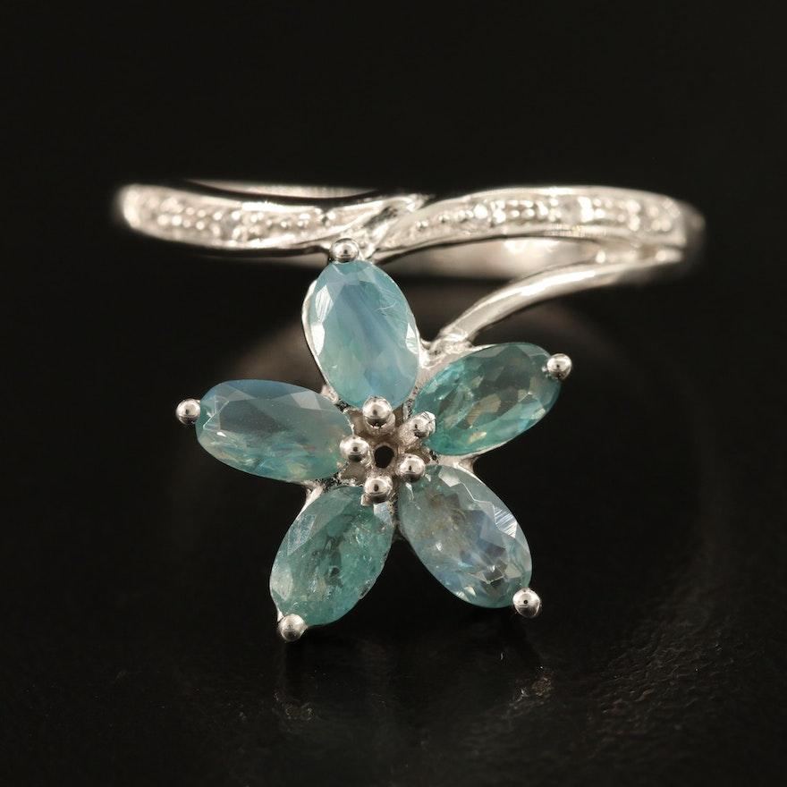 Sterling Alexandrite and Zircon Flower Ring