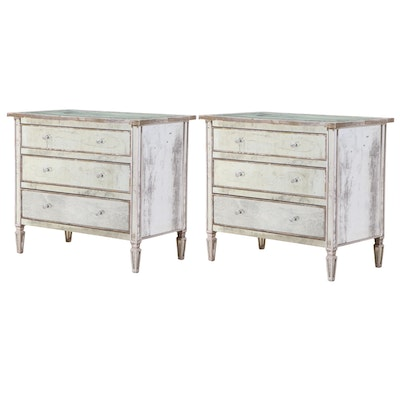 Pair of Louis XVI Style Mirrored Commode Chest