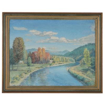Raymond Harlan Brasser Landscape Oil Painting, 1946