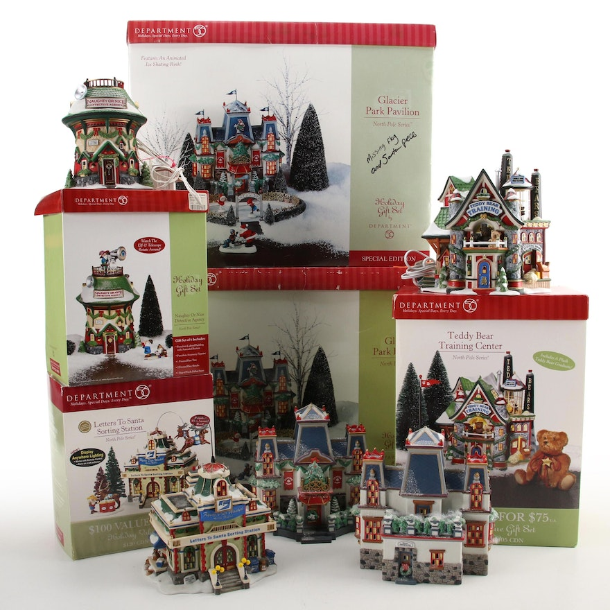 Department 56 North Pole Series Ceramic Christmas Village Houses