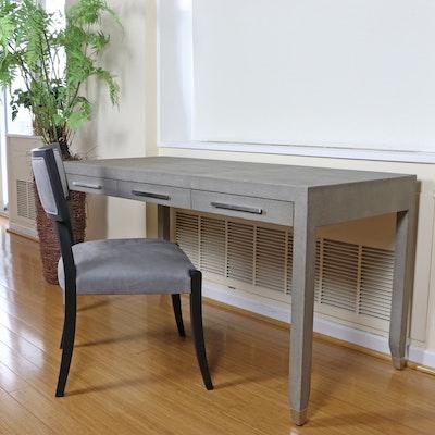 "Restoration Hardware ""Graydon"" Shagreen-Embossed Desk and ""Klismos"" Chair"