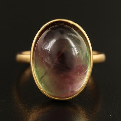 10K Fluorite Cabochon Ring with GIA Report