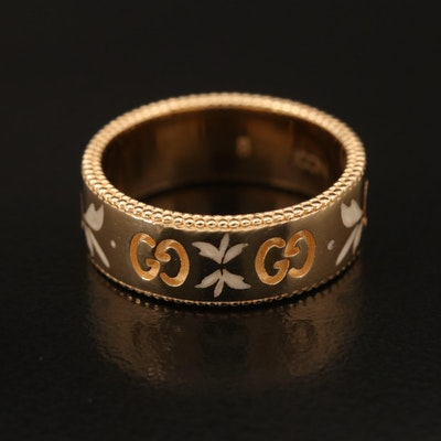 Gucci Icon Blooms 18K Enamel Band with Box, Pouch and Papers