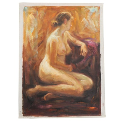 Oil Painting of Female Nude, 21st Century