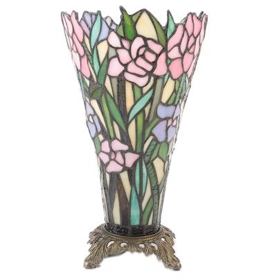 Art Nouveau Style Pink Lilies Slag Glass Torchiere Accent Lamp