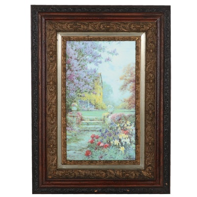 "Offset Lithograph After Alfred de Breanski Jr. ""Lilacs & Iris"""