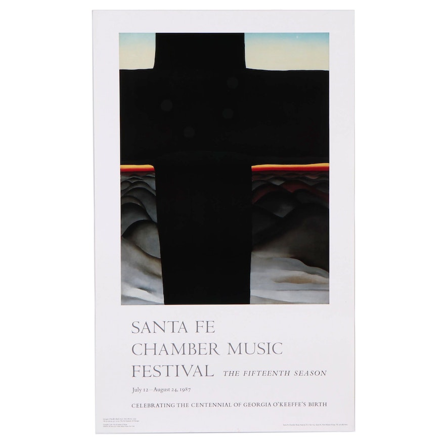 """Offset Lithograph After Georgie O'Keeffe """"Black Cross: New Mexico"""""""