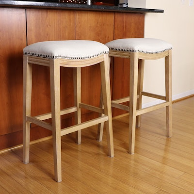 """Pier 1 """"New Ridge Home"""" Upholstered Barstools with Nailhead Accents"""