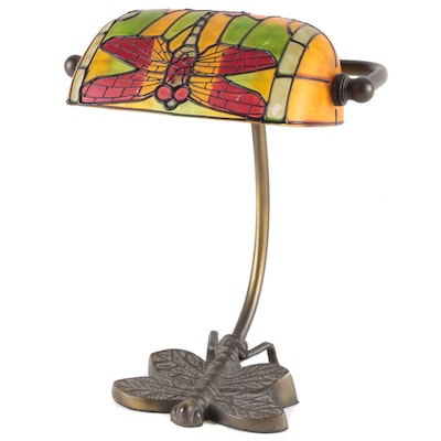 Painted Glass Dragonfly Shade Brass Bankers Style Lamp