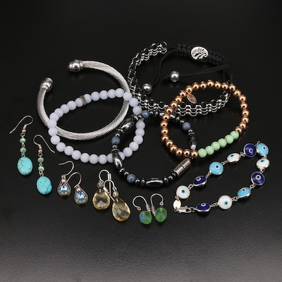 Sterling Beaded and Cable Bracelets with Drop Earrings
