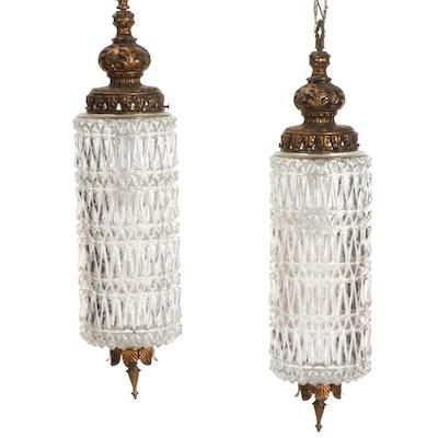 Pair of Fredrick Ramond Prismatic Glass and Metal Pendant Lights, Mid 20th C