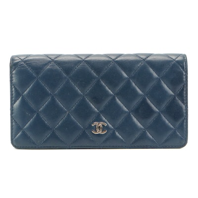 Chanel CC Bifold Wallet in Navy Blue Quilted Lambskin Leather with Box
