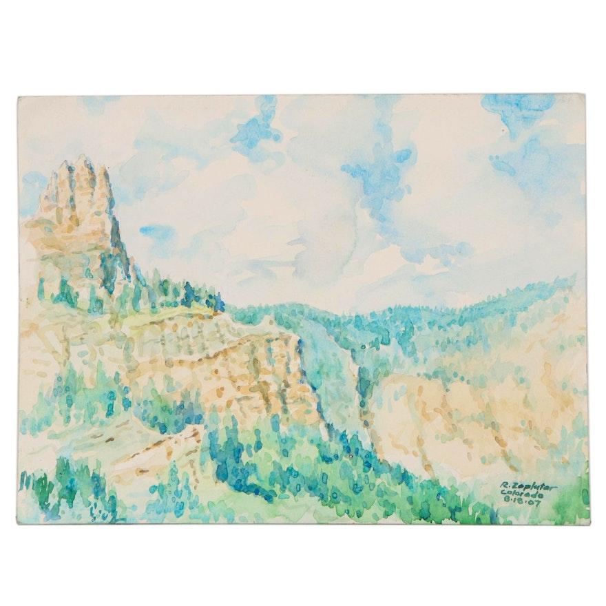 Raymond Zaplatar Landscape Watercolor Painting, 2007
