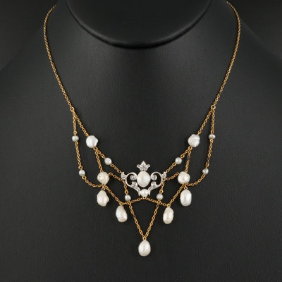 Edwardian 18K and Platinum Baroque Pearl and Diamond Festoon Necklace