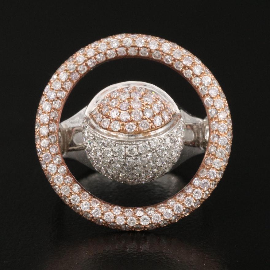 18K 1.85 CTW Pavé Diamond Ocular Motif Ring
