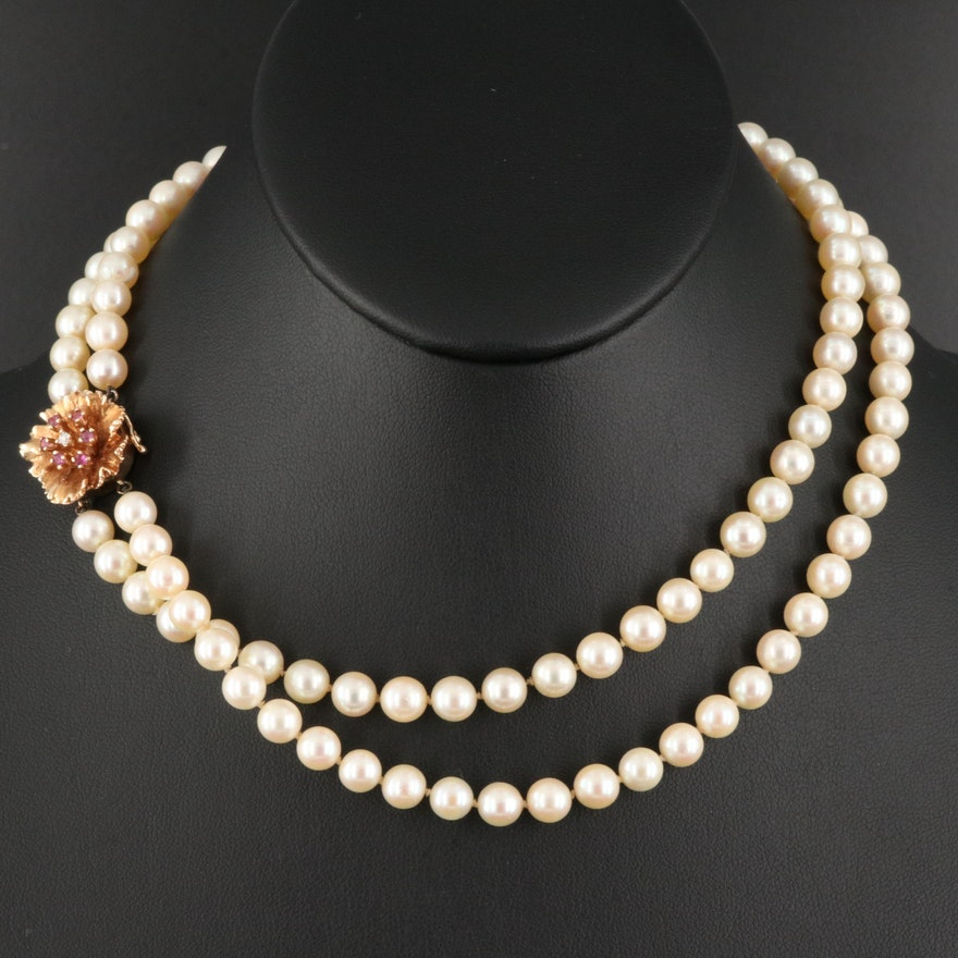 1950s Double Strand Pearl Necklace with 14K Rose Gold and Ruby Flower Clasp