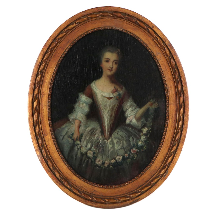 Rococo Style Oil Portrait of Lady in Gown