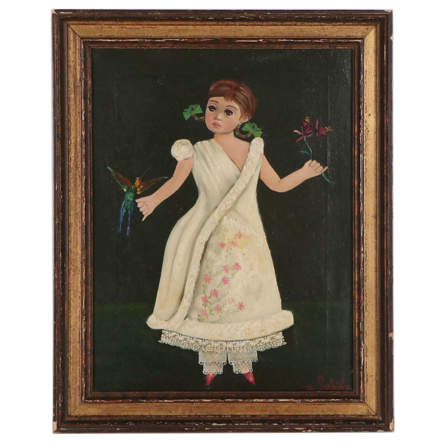 Agapito Labios Folk Art Oil Painting of Young Girl with Bird, Mid-20th Century