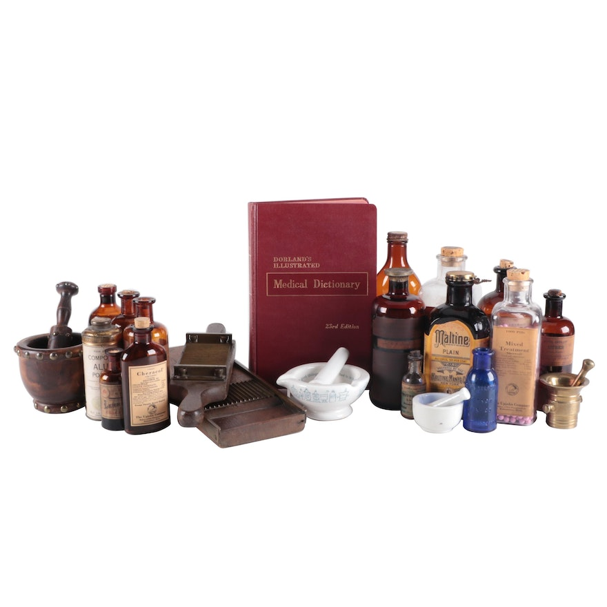 Apothecary Bottles, Pill Maker, Mortars and Pestles, and Medical Dictionary