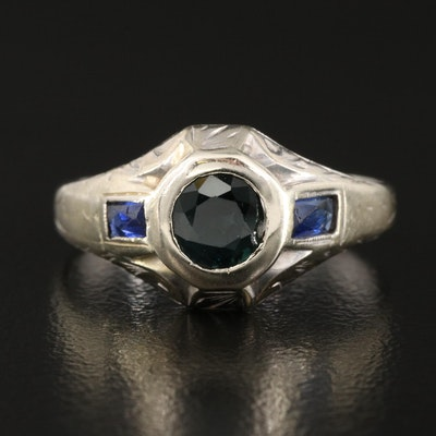 Art Deco 18K Sapphire Three Stone Ring