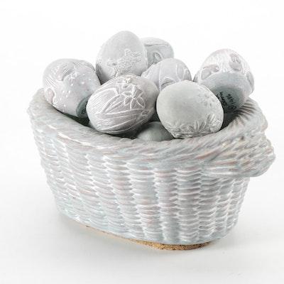 Isabel Bloom Concrete Easter Eggs and Basket Figurines, 1986-2003