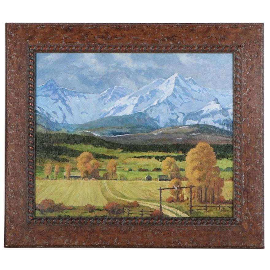 Landscape Oil Painting, Circa 2005