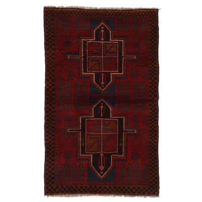 2'9 x 4'9 Hand-Knotted Afghan Turkmen Rug, 2000s