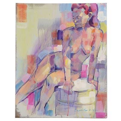 "Raymond Zaplatar Figurative Acrylic Painting ""Lisa K,"" 2021"
