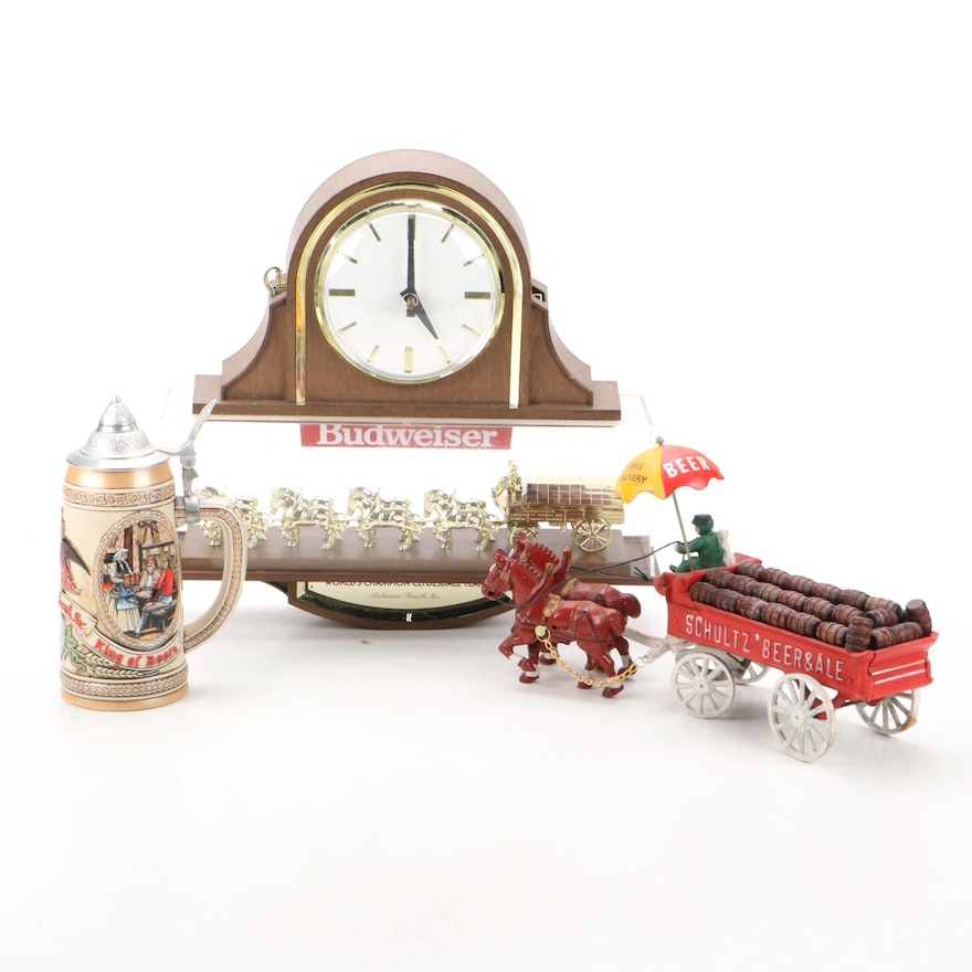 Budweiser Clydesdale Hanging Clock with Stein and Cast Iron Schultz Beer Wagon